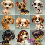Full 5D Diamond Painting Puppy hond 3 Teckel 20 x 20 cm
