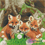 Crystal Art kit Fox Cubs (full) 30 x 30 cm