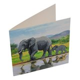 Crystal Card kit diamond painting Elephants 18x18cm