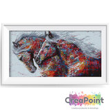 Full 5D Diamond Painting Paarden in kleuren kunstwerk 60 x 30 cm_