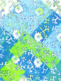 Decopatch papier blauw decoratieve bloemenprint OP=OP