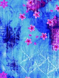 Decopatch papier blauw met roze bloemen OP=OP