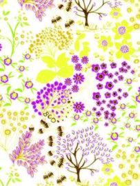 Decopatch papier geel decoratieve bloemenprint  OP=OP
