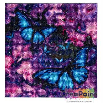 Crystal Art kit Blue Violet Butterflies 30 x 30 cm
