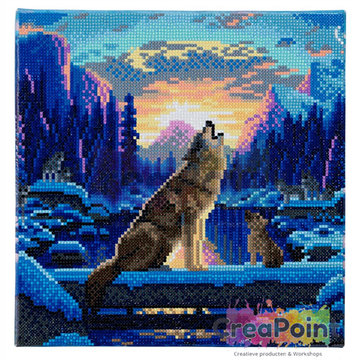 Crystal Art kit Howling wolves 30 x 30 cm
