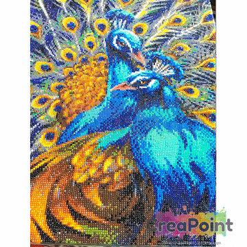 Crystal Art kit Blue Rapsody Peacock 50 x 40 cm full diamond painting