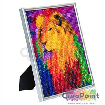 Crystal Art kit Rainbow Lion 21 x 25 cm