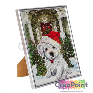 Crystal Art kit Festive Pup 21 x 25 cm