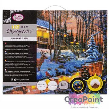 Crystal Art kit Highland Cabin LED 40 x 50 cm