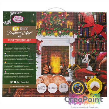 Crystal Art kit Pets by the Fireplace LED 40 x 50 cm