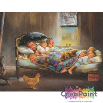 Full 5D Diamond Painting familie naar bed 1 50 x 40 cm