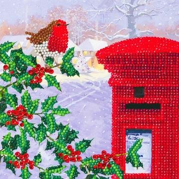 Christmas Crystal Card kit diamond painting Robin & Postbox 18 x 18 cm