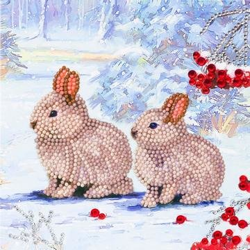 Christmas Crystal Card kit diamond painting Winter Bunnies 18 x 18 cm