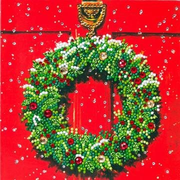 Christmas Crystal Card kit diamond painting Wreath Krans 18 x 18 cm