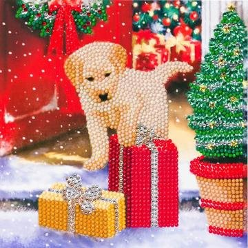 Christmas Crystal Card kit diamond painting Labrador Pup Cadeau 18 x 18 cm