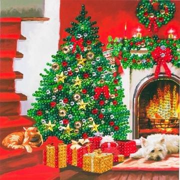 Christmas Crystal Card kit diamond painting Christmas Tree 18 x 18 cm
