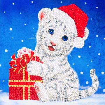 Christmas Crystal Card kit diamond painting Christmas White Tiger Cat 18 x 18 cm