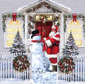 Christmas Crystal Card kit diamond painting Santa & Snowman 18 x 18 cm