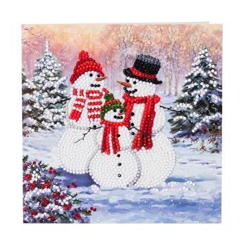 Christmas Crystal Card kit diamond painting Snowman Family 18 x 18 cm