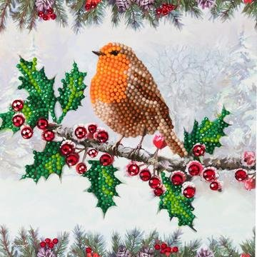 Christmas Crystal Card kit diamond painting Christmas Robin 18 x 18 cm
