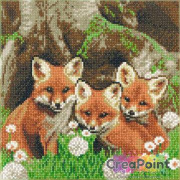Crystal Art kit Fox Cubs (full) 30 x 30 cm