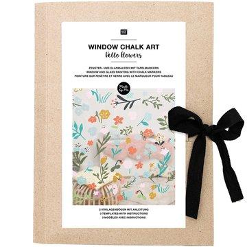 Window Chalk Art Templates 3-delig Hello Flowers FSC Mix