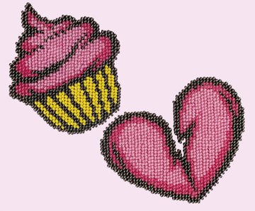 Miniart Crafts - Cupcake Heart - borduren met kralen