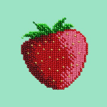 Miniart Crafts Strawberry 12 x 12 cm borduren met kralen