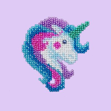 Miniart Crafts Unicorn 12 x 12 cm borduren met kralen