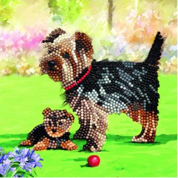 Crystal Card kit diamond painting Dogs 18 x 18 cm