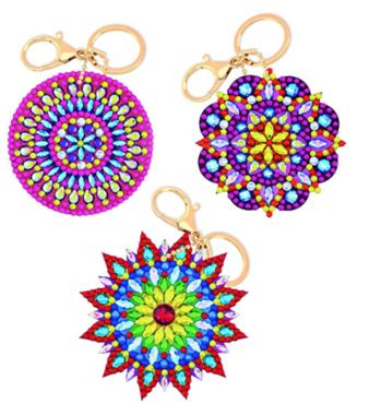 Crystal Art Sleutelhangers Mandala set van 3 stuks.