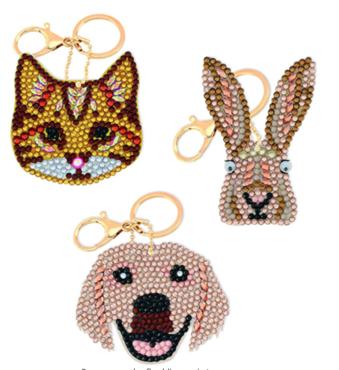 Crystal Art Sleutelhangers Perfect Pets set van 3 stuks.
