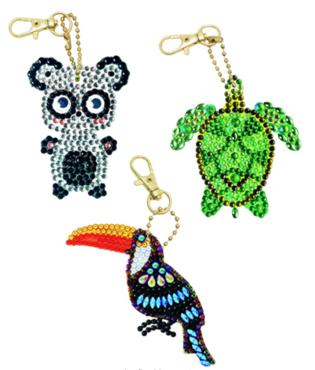 Crystal Art Sleutelhangers Exotic Animals set van 3 stuks.