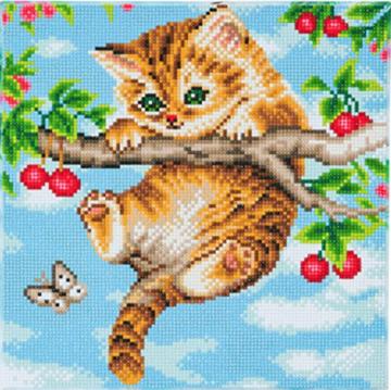 Crystal Art kit Cherry Kitten (full) 30 x 30 cm