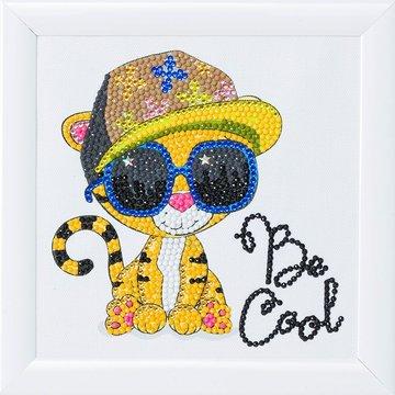 Crystal Art kit Kinder Frame Cool Tiger Partial 16 x 16 cm.