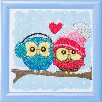 Crystal Art kit Kinder Frame Cozy Owls Partial 16 x 16 cm.