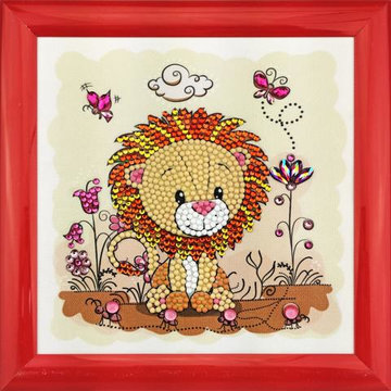 Crystal Art kit Kinder Frame Lion Meadow Partial 16 x 16 cm.