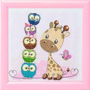 Crystal Art kit Kinder Frame Giraffe and Friends Partial 16 x 16 cm.