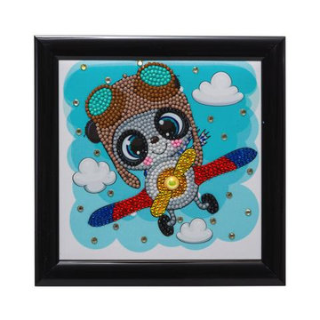 Crystal Art kit Kinder Frame Flying Panda Partial 16 x 16 cm.