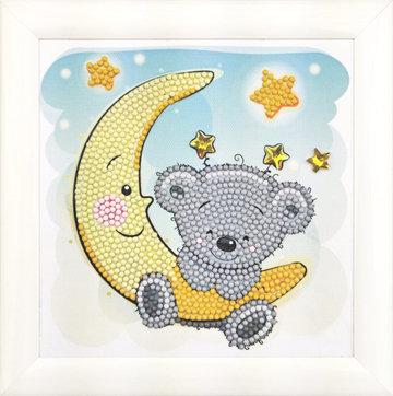 Crystal Art kit Kinder Frame Teddy on the Moon Partial 16 x 16 cm.