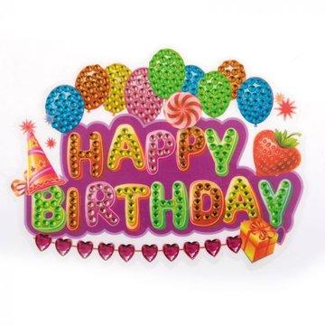 Crystal Art Sticker Happy Birthday 10 x 15 cm.