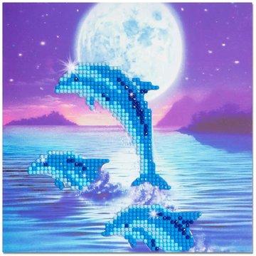 Crystal Card kit diamond painting Dolphin Pod 18 x 18 cm
