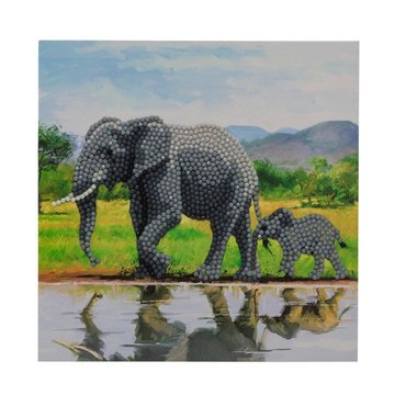 Crystal Card kit diamond painting Elephants Olifanten 18x18cm