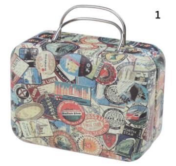 Koffer voor poppen metaal met stickerprint 8cm