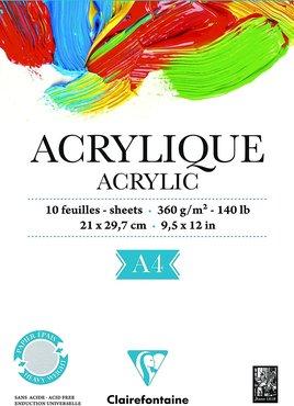 Blok Papier voor Acrylverf 10 blad A4 (21x29,7cm) 360g gelijmd 1 zijde - Wit
