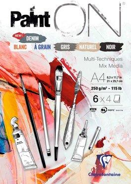 Paint'ON blok 24 blad 250g geassorteerde kleuren 6x4 blad n°6 A4