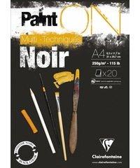Paint'ON blok gelijmd 20 blad 250g A4 zwart