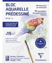 AquarelBlok met voorbedrukt Dieren motief 15 vel 300g 30x40cm - Wit