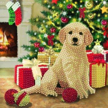 Christmas Crystal Card kit diamond painting Puppy's first Christmas 18 x 18 cm