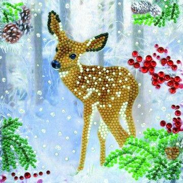 Christmas Crystal Card kit diamond painting Festive Fawn Hertenjong 18 x 18 cm